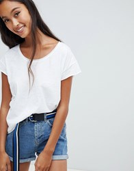Pull And Bear Pullandbear Scoop Neck T Shirt In White