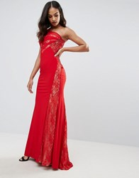 Forever Unique One Shoulder Maxi Dress Red