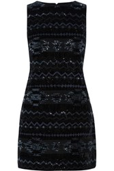 Alice Olivia Clyde Sequin Embellished Velvet Mini Dress Black