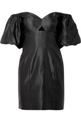 Caroline Constas Titos Off The Shoulder Cotton And Silk Blend Satin Mini Dress Black