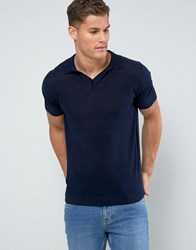 Mango Man Knitted Polo With Revere Collar In Navy Navy