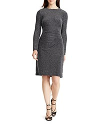 Ralph Lauren Metallic Jacquard Dress Navy Silver