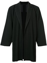Homme Plisse Issey Miyake Pleated Open Jacket Men Polyester 3 Black