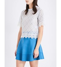 Sandro Scalloped Lace Top Blue