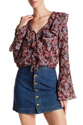 Dress Forum Bell Sleeve Floral Blouse White