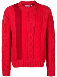 Helmut Lang Cable Knit Jumper Red