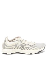 Acne Studios Panelled Suede And Mesh Trainers Grey White