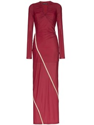 Y Project Fitted Draped Maxi Dress Red