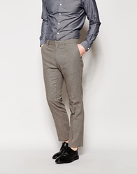 Peter Werth Wool Dogtooth Suit Trousers In Slim Fit Sandgrey