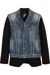 R 13 Layered Denim Vest And Leather Trimmed Wool Jacket Blue