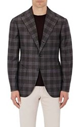 Sciamat Men's Plaid Flannel Two Button Sportcoat Black