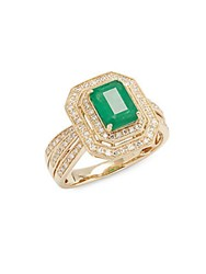 Effy White Diamond Emerald And 14K Yellow Gold Ring
