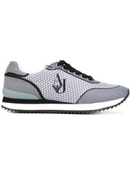 Armani Jeans Dotted Lace Up Sneakers Women Polyester Rubber 38 Grey