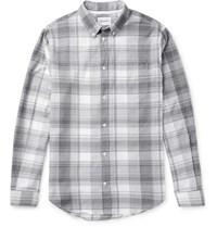 Norse Projects Osvald Button Down Collar Checked Cotton Shirt Gray