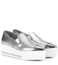 Miu Miu Metallic Leather Platform Slip On Sneakers Silver