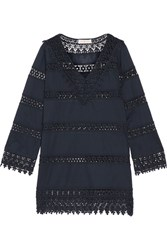 Tory Burch Crochet Trimmed Cotton Voile Mini Dress Storm Blue