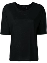 Theory Short Sleeved T Shirt Women Viscose Xs Black