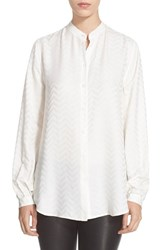 Women's Equipment 'Henri' Chevron Print Silk Shirt Bright White