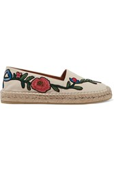Gucci Embroidered Leather Espadrilles White