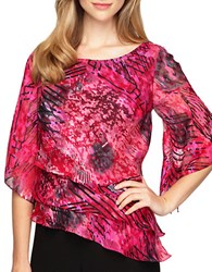 Alex Evenings Plus Abstract Print Triple Tier Blouse Fuchsia
