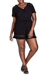 City Chic Plus Size Women's Holiday Fun Romper Black
