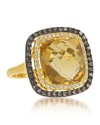 Diana M. Jewels 14K Yellow Gold Citrine And Yellow And White Diamond Ring Size 6.5