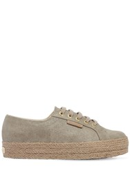 Superga 40Mm Canvas Platform Sneakers Sand