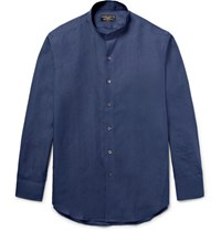 Emma Willis Slim Fit Grandad Collar Linen Shirt Navy