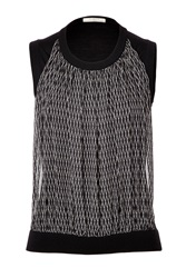 Bouchra Jarrar Knit Top With Silk Front Panel Black