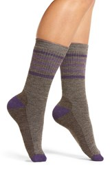 Smartwool Women's Stripe Crew Socks Taupe Mtn Purple