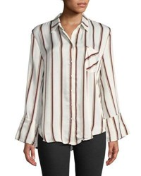 Evidnt Striped Wide Sleeve Button Front Blouse Beige