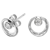 Dower And Hall Sterling Silver White Topaz Earrings Silver