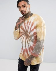Asos Oversized Long Sleeve T Shirt With Rolled Sleeve In Spiral Tie Dye Brown