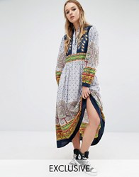 Reclaimed Vintage Maxi Dress With Peacock Embroidered Detailing With Multi Prints Multi