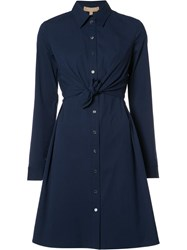Michael Kors Drawstring Shirt Dress Blue