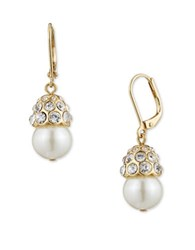 Anne Klein Pave And Faux Pearl Clip On Drop Earrings