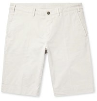 Canali Cotton Blend Twill Shorts Off White