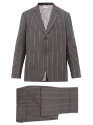 Thom Browne Striped Wool Two Piece Suit And Tie Grey