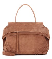 Tod's Exclusive To Mytheresa.Com Wave Small Suede Tote Brown