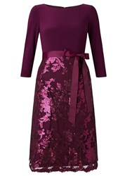 Adrianna Papell Quarter Sleeve Fit And Flare Sequin Cocktail Dres Purple