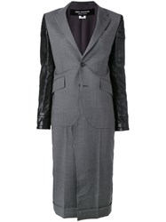 Comme Des Garcons Junya Watanabe Leather Panelled Coat Grey