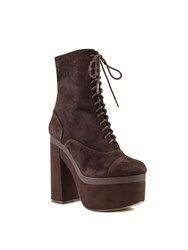 Shellys London Balham Lace Up Platform Ankle Boots Brown