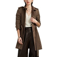 Barneys New York Cotton Blend Canvas Belted Trench Coat Brown