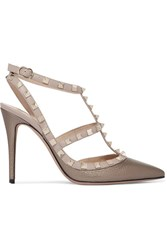 Valentino Rockstud Metallic Textured Leather Pumps Bronze