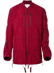 White Mountaineering Long Sleeved Padded Jacket Acrylic Nylon Polyester Wool Red