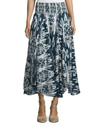 Neiman Marcus Printed Smocked Waist Skirt Navy Tribal Print