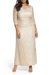 Alex Evenings Plus Size Women's Evening Embellished Lace Column Gown