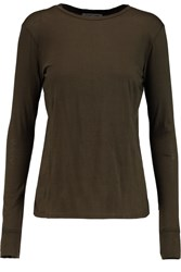 Helmut Lang Cotton And Cashmere Blend Jersey Top Green
