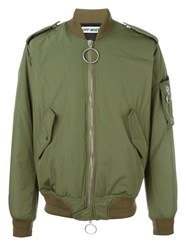 Off White Back Patch Bomber Jacket Green