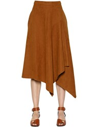 Stella Mccartney Asymmetric Faux Suede Midi Skirt